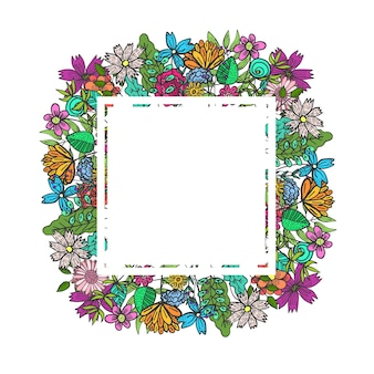 Square frame with color doodle flowers and leaves