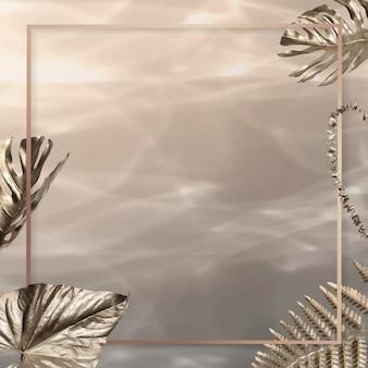 Cornice quadrata con sfondo di foglie dorate Vettore gratuito
