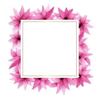 Квадратная рамка с рисованными цветами и листьями