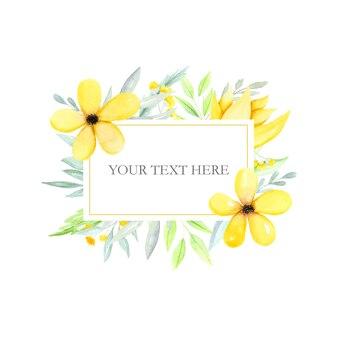 Квадратная рамка с рисованными цветами и листьями Premium векторы