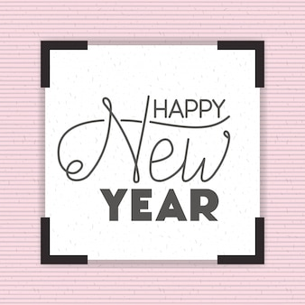 Square frame with happy new year lettering