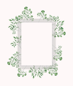 Square frame with laurel leafs