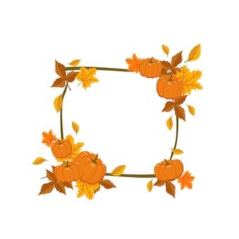 オレンジと黄色のカエデの葉とカボチャの正方形のフレーム。自然の贈り物とテキストのための空きスペースのある枝のある明るい秋の花輪