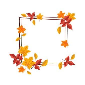 オレンジと黄色のカエデの葉が付いた正方形のフレームは、自然とブランチの贈り物で明るい秋の花輪を残します...