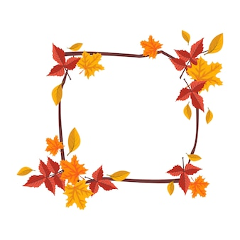 Square frame with orange and yellow maple leaves bright autumn wreath with gifts of nature and branc...