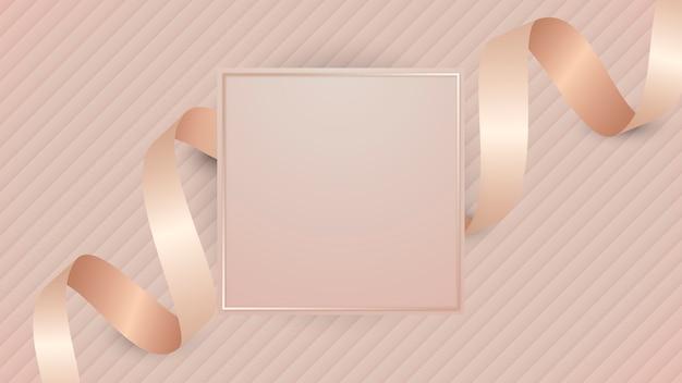 ピンクゴールドのリボンが付いた正方形のフレーム