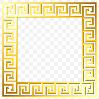 Square frame with traditional vintage golden greek ornament, meander pattern