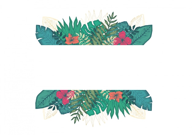 열 대 잎과 꽃으로 사각 프레임