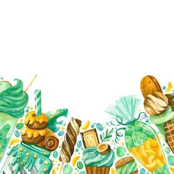 수채화 과자 과자 테두리가 있는 사각형 프레임