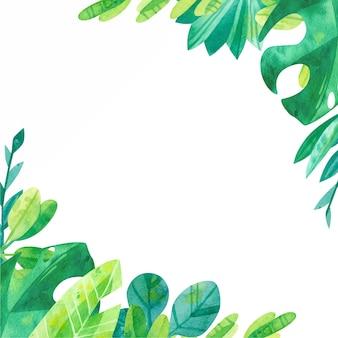 水彩ジャングルの葉と正方形のフレーム