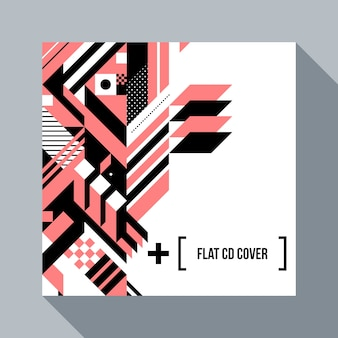 Square futuristic background/cd cover with abstract geometric element.