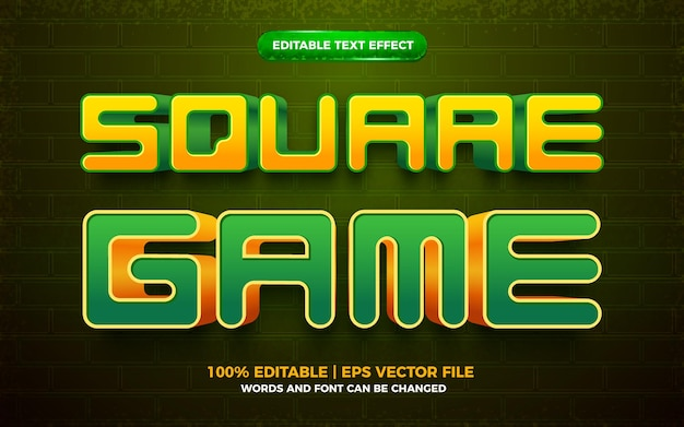 Square game 3d editable text effect
