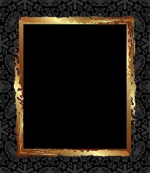 회색 장신구가 있는 검정색 배경에 사각 금색 골동품 프레임 검정과 금색