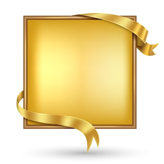 Square gold banner with gold ribbon