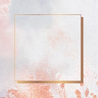 Square gold frame on grunge background