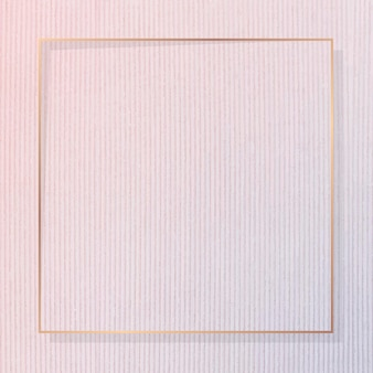 Cornice quadrata in oro su fondo strutturato in velluto a coste rosa vettore