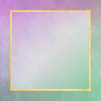 Square gold frame on purple and green background vector
