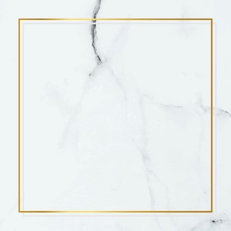 Square gold frame on white marble background