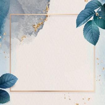 葉のパターンの背景ベクトルと正方形の金フレーム