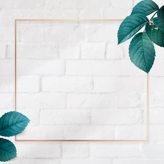 Square gold frame with foliage pattern background