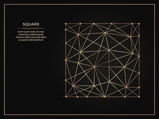 Square golden abstract background