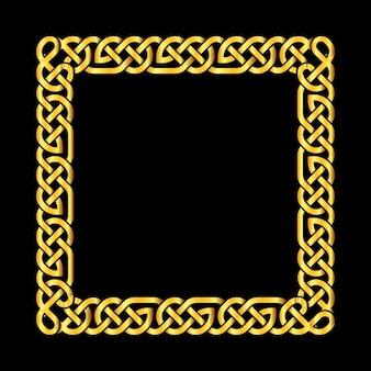 Квадратные золотые кельтские узлы векторная рамка