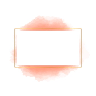 Square golden frame with orange watercolor shape