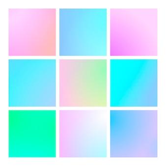 현대 추상 배경으로 설정된 사각형 그라데이션입니다. 포스터, 배너, 전단지 및 프레젠테이션을 위한 다채로운 유체 커버. 트렌디한 소프트 컬러. 화면 및 모바일 앱용으로 설정된 정사각형 그라디언트가 있는 템플릿