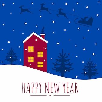 Квадратная открытка с новым годом и рождеством. дом в снегу и елки. дед мороз летит по ночному небу на санях с оленями. векторная иллюстрация плоский мультфильм.