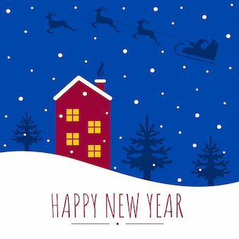 Square greeting card happy new year and christmas. house in the snow and christmas trees. santa claus is flying through the night sky in a sleigh with reindeer. vector flat cartoon illustration.