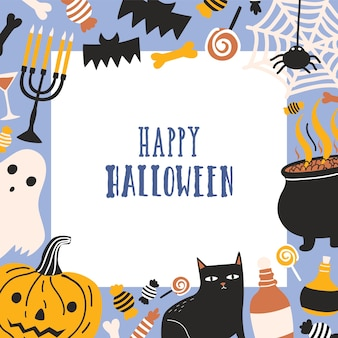 Square greeting card template decorated with frame consisted of spooky creatures, jack-o'-lantern, sweets and happy halloween wish