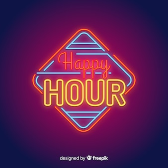 Square happy hour neon sign