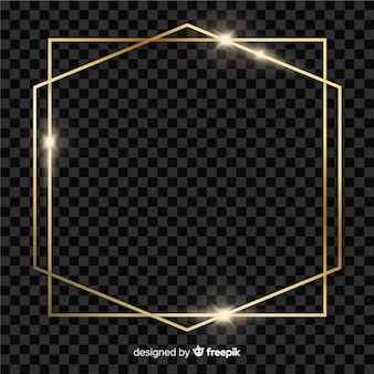Square and hexagon golden frame