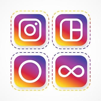 소셜 네트워크의 사각형 아이콘