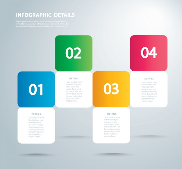 Square info graphic template with 4 options