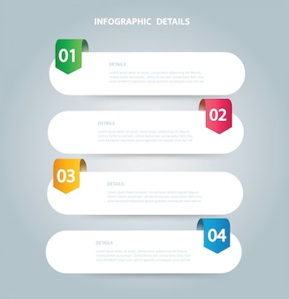 Square info graphic vector template with 4 options
