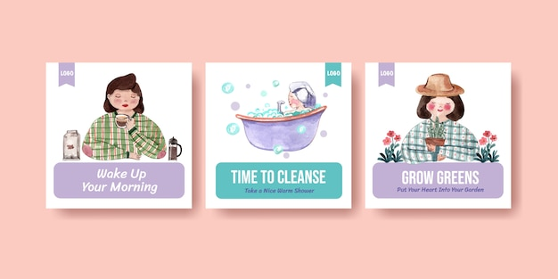 Square instagram post template with daily life characters watercolor illustration