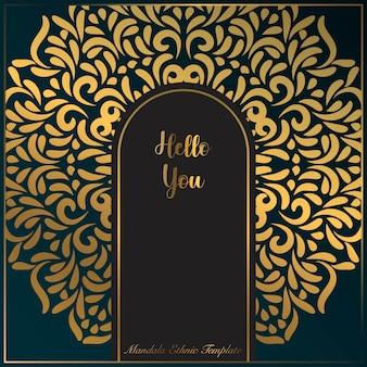 Square invitation card template with gold mandala art motifs