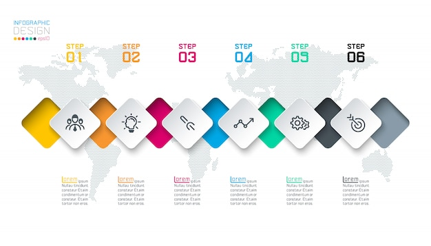 Square label infographic with 6 steps.