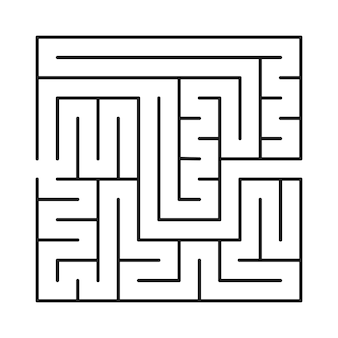 Square labyrinth. dark abstract maze labyrinth isolated on white background. game for kids. vector illustration.