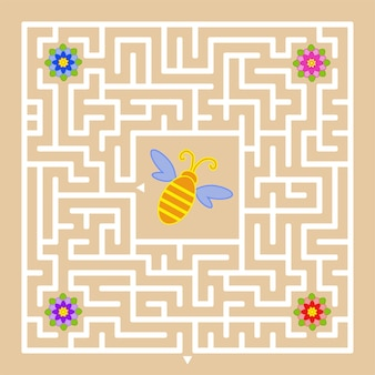 A square labyrinth. help the bee to find a way out and collect honey from all colors.