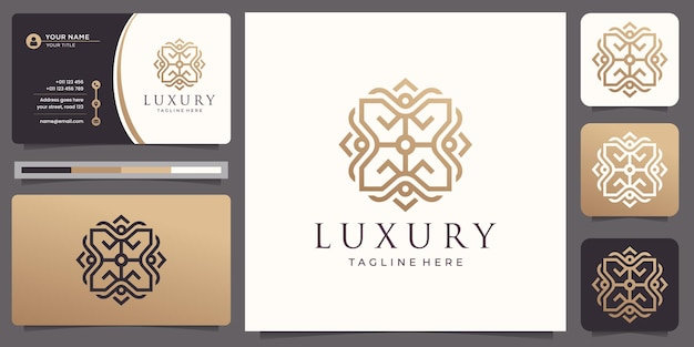 Square line art tile motif pattern luxury elegant logo design with business card.
