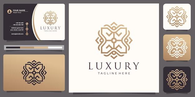 스퀘어 라인 아트 타일 모티브 패턴 명함이있는 고급스러운 우아한 로고 디자인.