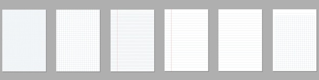Square, lined paper sheets, grid page notebook.