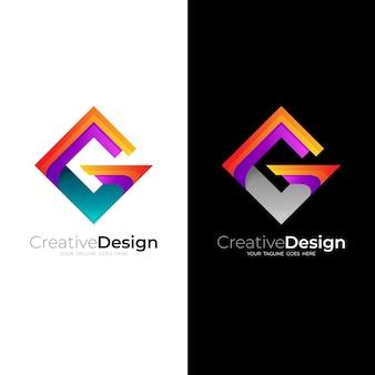 정사각형 로고와 문자 g 디자인 벡터, 3d 스타일