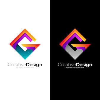 Square logo and letter g design vector, 3d style