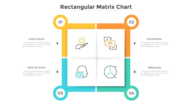 Square matrix chart with 4 paper white cells. table with four options to choose. modern infographic design template. flat vector illustration for business presentation, website pop-up menu interface.
