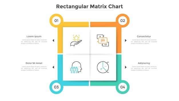 Квадратная матричная диаграмма с 4 бумажными белыми ячейками. таблица с четырьмя вариантами на выбор. современный инфографический шаблон дизайна. плоские векторные иллюстрации для бизнес-презентации, интерфейс всплывающего меню веб-сайта.