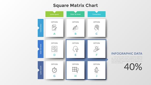 Квадратная матричная диаграмма с 9 бумажными белыми ячейками, расположенными в строках и столбцах. таблица с девятью вариантами выбора или выбора. шаблон оформления простой инфографики. плоские векторные иллюстрации для презентации.