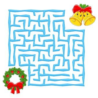 子供のための正方形の迷路クリスマスゲーム子供のための冬のパズル迷路の難問